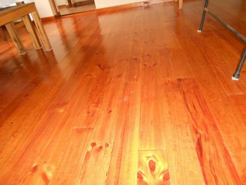 newly laid pine and stain