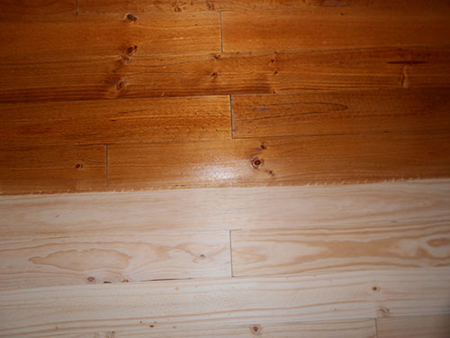 unstained and teak stain on pine